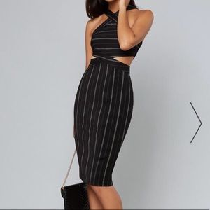 Bebe Dress Midi Stripe black & white Strap XS